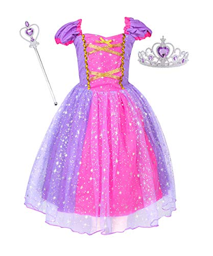 Suyye Princess Dress Costume for Little Girl Baby Shining Birthday Dress(Purple with Accessories, 2-3 years/90cm