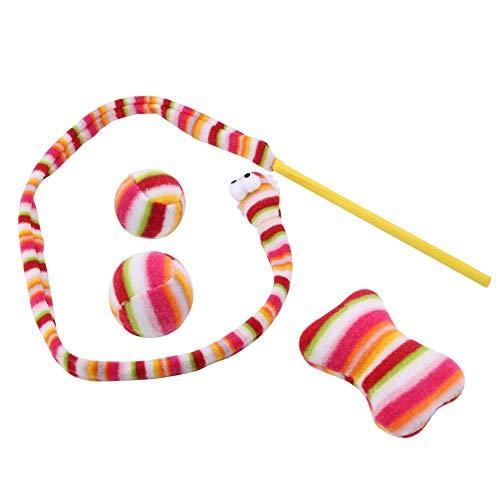 TOPINCN kat speelgoed grappige interactieve huisdier speelgoed regenboog kleur slang vorm kitten hond spelen
