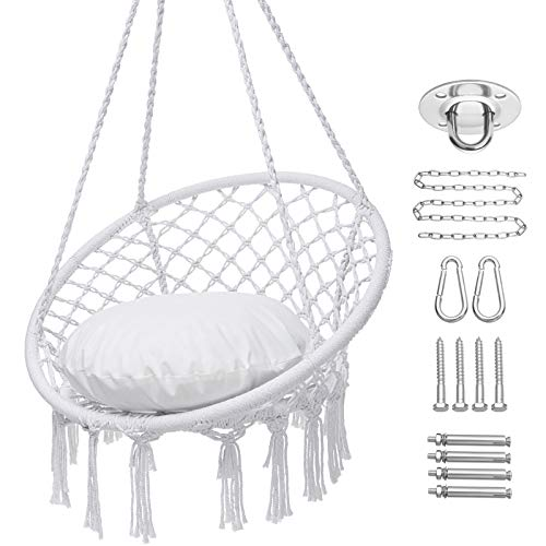 Y- STOP Hammock Chair Macrame Swing, Hanging Cotton Rope Swing Chair with Cushion and Hardware Kits, Max 330 Lbs, Hanging Chairs for Indoor and Outdoor Use (White)