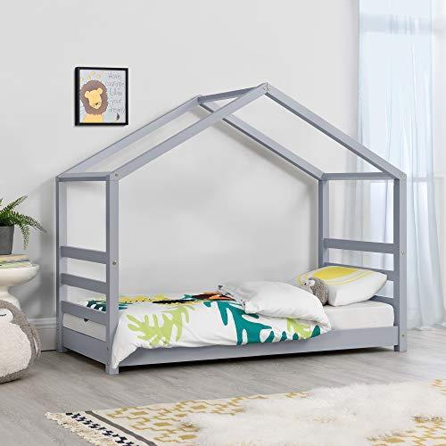 Cama para niños de Pino 140 x 70 cm Cama Infantil Forma de casa en Color Gris Lacado Mate