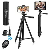 """ZERFUN 55"""" Phone Tripod for iPhone iPad Camera, Android Cell Phone Tripod Stand with Remote, Universal Phone/Tablet Holder Adapter, Sports Camera Mount, Compatible with Smartphone/Tablet/Camera"""