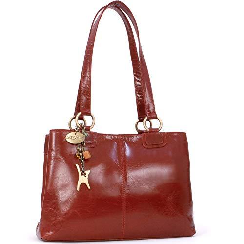 CATWALK COLLECTION - BELLSTONE - Bolso al hombro estilo shopper - Cuero vintage - Grande - Rojo
