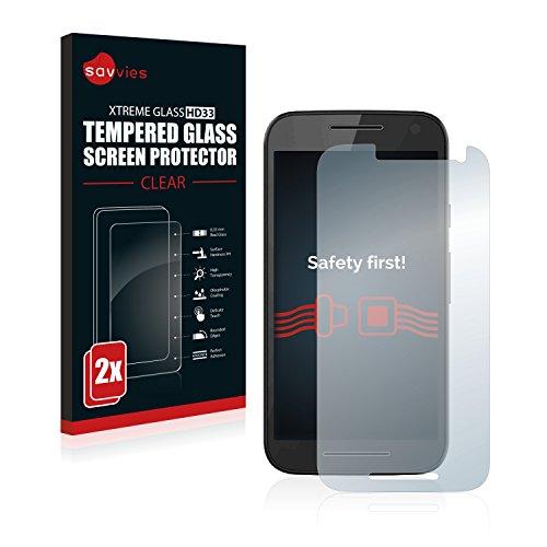 Savvies Panzerglas kompatibel mit Motorola Moto G3 / G 3. Generation (2 Stück) - Echt-Glas, 9H Festigkeit, Anti-Fingerprint
