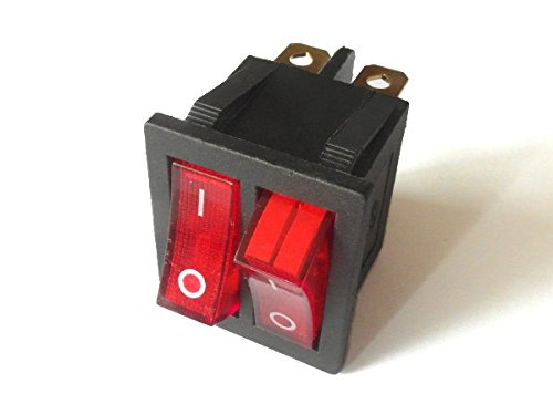 Doppel Wippschalter 2er Kippschalter Schaltwippe 15A 250V AC 20A 125V CQC KCD8 rot Modell: SCH39