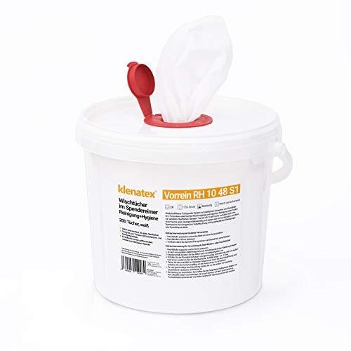 klenatex® Wischtücher für Reinigung + Hygiene Vorrein 1048 Spender/Nachfüllrollen zum Tränken Spunlace/Nonwoven Vliestücher (1x Rolle + Spendereimer)