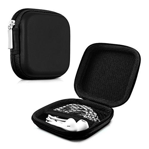 kwmobile Robuste Tasche Case für In-Ear Kopfhörer in Schwarz - Hochwertige Schutzhülle für Ihre Kopfhörer