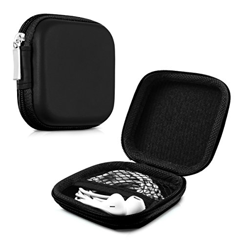 kwmobile In-Ear Kopfhörer Tasche - In Ear Headphones Schutztasche - Earphones Etui Case Cover Hülle für Kopfhörer in Schwarz