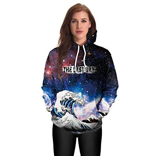 OOFAN Homme Sweats à Capuche Pull Unisex 3D Prints Hoodie Sweatshirt Vague Ciel étoilé Patterned,A,XL