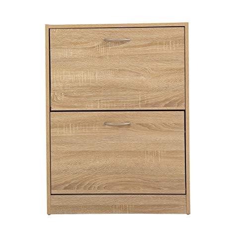 Divans 2 Tier Wooden Shoe Storage Cabinet   Footwear Cupboard Rack Unit   Pull Down Modern Shoes Organizer Stand (Sonoma Oak)