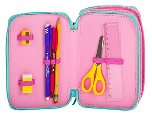 Astuccio 3 Zip Disney Frozen Ice Magic, Rosa, Con materiale scolastico: 18 pennarelli e 18 pastelli Giotto, penna Tratto Cancellik …