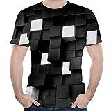 Fórmula Hombre 3D Tridimensional De La Impresa Camisa De Camisa Manga Vida de la Moda Corta Cuello Redondo Slim Fit Manera De Las Tapas Acogedor Básico Tops Ropa (Color : Negro, One Size : XL)