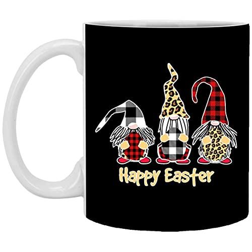 N\A Ideas de Regalos de Pascua 2021 - Gnomos Lindos Feliz día de Pascua Divertido búfalo Rojo a Cuadros Leopardo Huevos de Pascua Taza de café de Pascua 11 oz