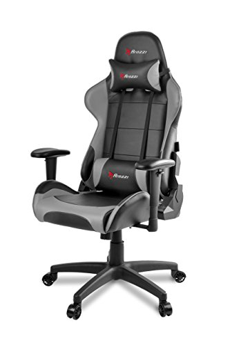 Arozzi Verona V2 Advanced Racing Style Gaming Chair with High Backrest, Recliner, Swivel, Tilt, Rocker and Seat Height Adjustment, Lumbar and Headrest Pillows Included, Grey chair gaming gray