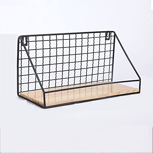 LHn-Cn Estante De Exhibición De Rejilla, Estantes De Almacenamiento De Madera Modernos con Alambre De Metal,para Decoración del Hogar/Dormitorio/Baño/Cocina Black/Small