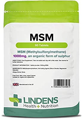 Lindens Msm 1000mg Tablets (Methylsulfonylmethane) | 90 Pack | Source of Sulphur & Easy One-a-Day Tablet, Suitable for Vegans & Vegetarians