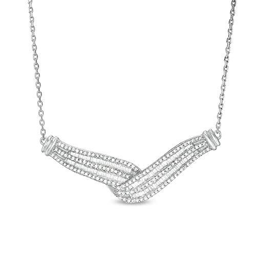 Collar de diamante redondo y corte baguette D/VVS1, cadena de 45,72 cm en plata de ley 925 maciza.