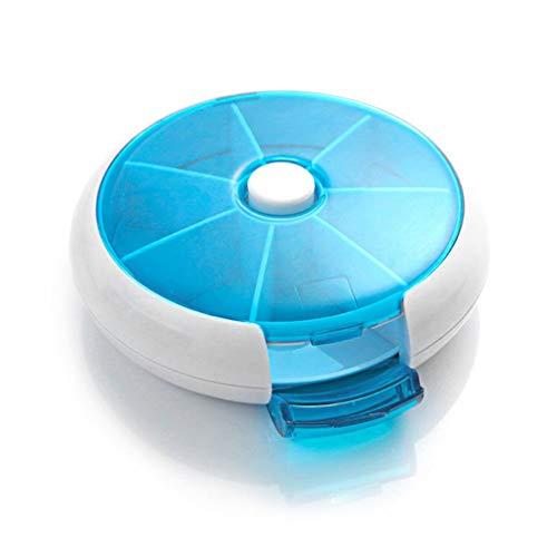 Caja de píldoras de medicina rotatoria automática de forma redonda compacta 7 días de viaje semanal titular de la medicina de la tableta de almacenamiento contenedor