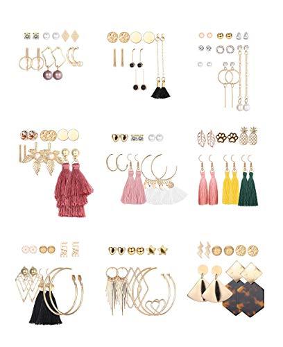 Hanpabum 52-60 Pairs Fashion Tassel Earrings Set Bohemian Acrylic Hoop Stud Drop Dangle Earrings for Birthday/Party/Christmas/Friendship Gifts