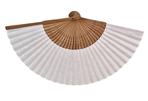 Salutto 6Pcs Folding Paper Hand Fan Bamboo Handheld Dancing Wedding Gift Party Home Office DIY Decor White