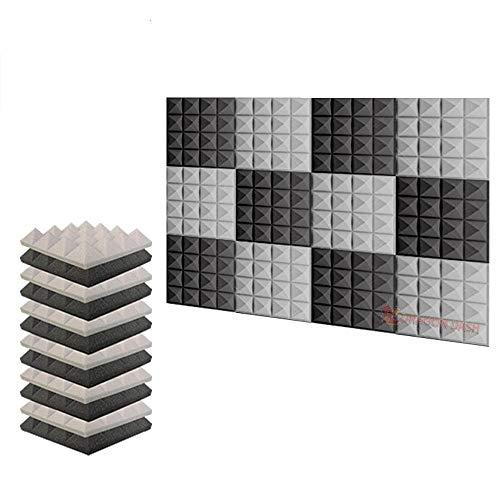 arrowzoom Neue 12Pack der Pyramide, Schalldämmung Isolierung Akustik Wand Schaumstoff Polsterung Studio Schaumstoff Fliesen az1034, Polyurethan-Schaumstoff, BLACK & GRAY, 9.8 X 9.8 X 1.9 Inches