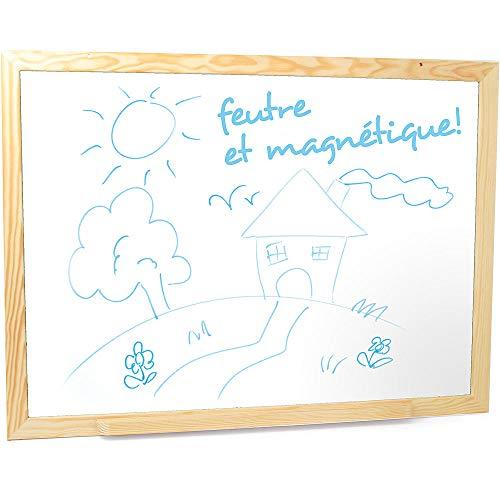 Jeujura - 8787-Tableau en Bois-Grand Tableau Feutre et Magnetique en Bois - 88 x 66