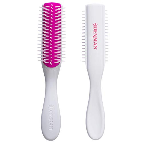 Denman Classic Styling Brush 5 Row D14 (Cherry Blossom) Hair Brush for Separating, Shaping & Defining Curls - Blow-Drying, Styling & Detangling Brush