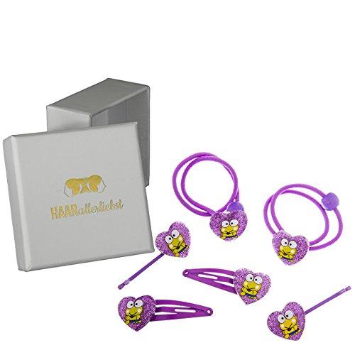 6Horquillas Gomas del pelo cabello Accesorios con corazones brillantes con ranas para niños en caja blanca de pelo todos los liebst