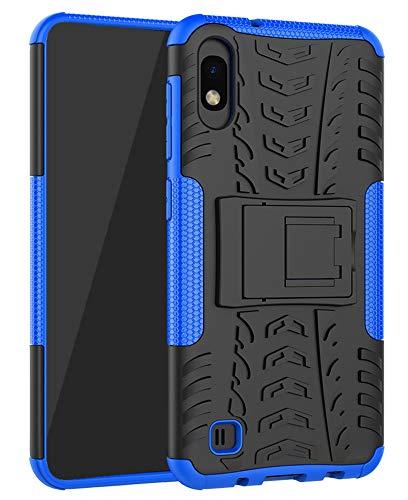 Yiakeng Samsung Galaxy A10 Cover, Doppio Strato Silicone Antiurto Far Cadere Protezione con Kickstand Custodia per Samsung Galaxy A10 (Blu)