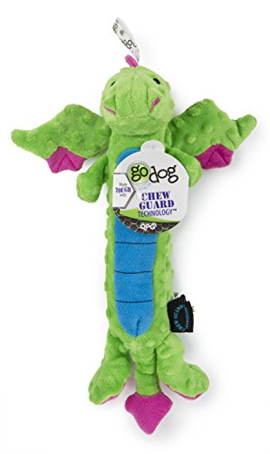 goDog Dragons Skinny Squeaker Dog Toy Chew Resistant Durable Plush Soft Tough Reinforced Seams Green Large