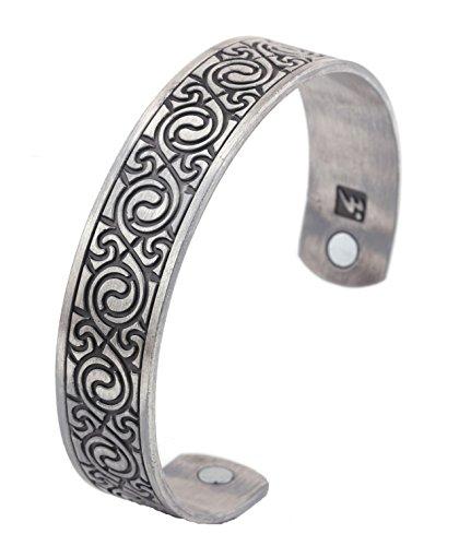 Pulsera magnética para el cuidado de la salud estilo étnico retro Viking brazalete para hombres (plata antigua)