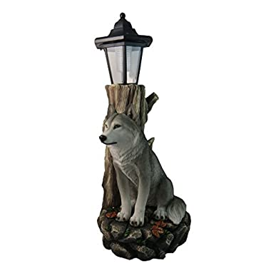 Spirit Wolf Outdoor Solar Lantern Statue By DWK | Lawn Garden Porch or Patio Wildlife Statue Decor And Gifts