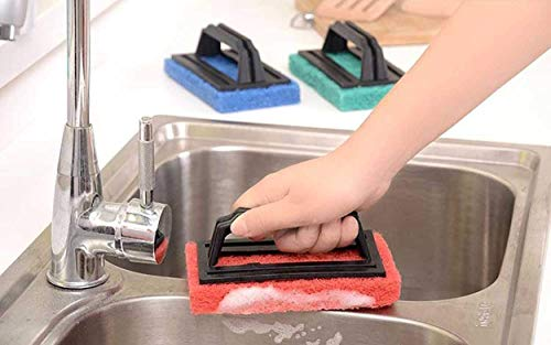 Mancloem MCE Tile Cleaning Multipurpose Scrubber Brush with Handle, 02 Pieces