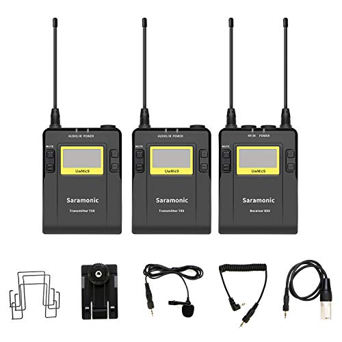 Saramonic UwMic9 96-kanaals digitale UHF wireless dual draadloze microfoon voor Nikon Canon Sony DSLR-camera's voor video, field recording, interview, GER, TV