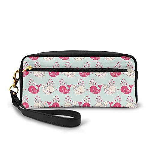 Con bolsa de lápiz con cremallera, bonito patrón de ballenas alegres en tonos pastel suaves amor San Valentín, estuche pequeño bolsa de maquillaje