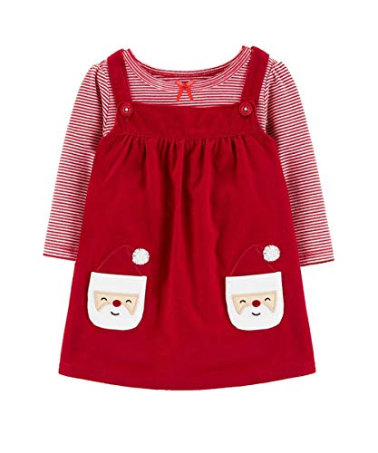 Toddler Infant Baby Girl Christmas Dress Striped T Shirts Santa Claus Overall Skirt Set Cotton Outfits 6-12 Months Pink