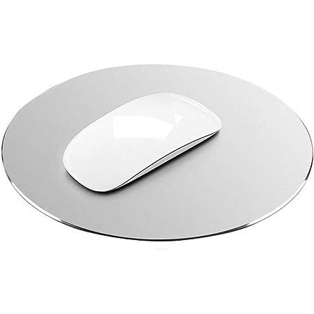 BIGFOX Tappetino Mouse,Doppio Lato(Alluminio e Gomma),22X 22CM,Superficie Liscia e Bordi Cuciti,Sottile e Leggero,Impermeabile,Antiscivolo Tappetino Mouse Ottico.