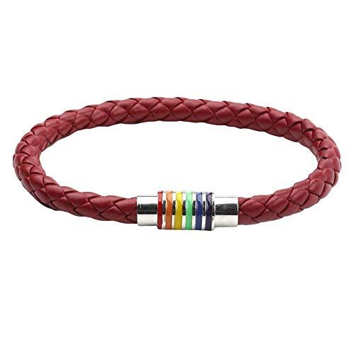 WanBeauty Cadena de pulsera, pulsera de cuero trenzado unisex cuerda de cuero arco iris hebilla magnética pulsera joyería - vino rojo plata*