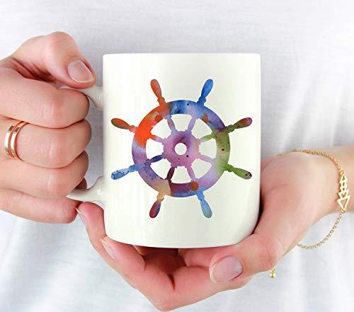 Taza de café náutico con diseño de la rueda de la nave, regalo de nave, taza de café náutico, regalo único de vela náutica, 325 ml