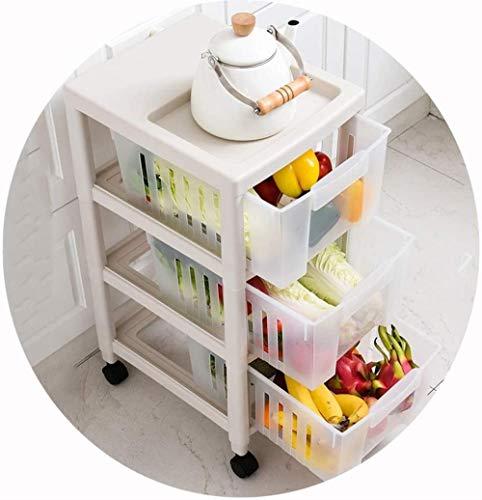 HZY Torre de almacenamiento estantería, Torre de almacenamiento con las ruedas, grande de plástico gaveta de la compra, diseño ahuecado, de 3 capas de almacenamiento de clasificación, transparente vis