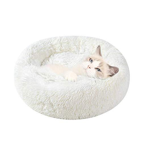 Cama para Gatos y Perros Suave Cama de Gato Redondo antiestres Cojín Lavable Invierno de Felpa Diámetro 40cm para Gatos pequeños Blanco