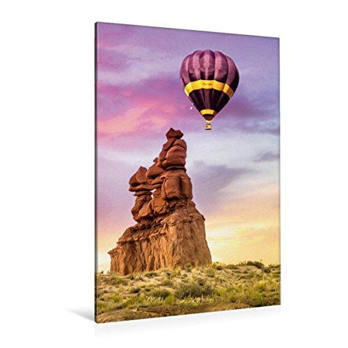 Calvendo premium textieldoek 80 cm x 120 cm hoog, een motief uit de kalender heteluchtballon - romantische afbeeldingen   muurschildering, afbeelding op spieraam. Zwartgele ballon natuur