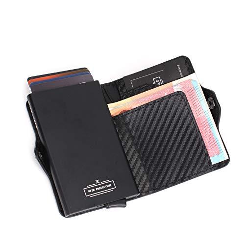 Porta Carte Credito - MONEYHOLD™ - Porta Carte di Credito Schermato RFID e Porta Banconote - Porta Tessere e Fermasoldi, Elegante e Tascabile - Fibra Di Carbonio ((A) - Standard)