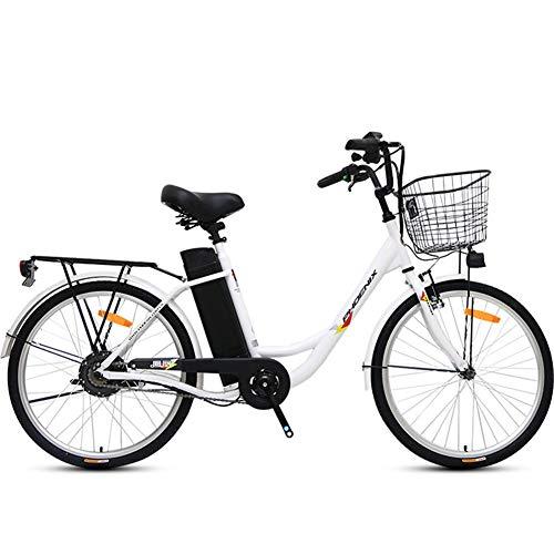 24 Zoll 250W Ladung Elektro-Fahrrad Sport Brushless Getriebemotor mit abnehmbarem Wasserdicht großen Kapazitäts-36V10A Lithium-Batterie und Ladegerät,Weiß