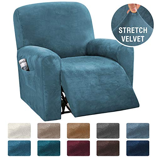 H.VERSAILTEX 4-Pieces Recliner Chair Covers Velvet Stretch Reclining Couch Covers for 1 Cushion Sofa Slipcovers Furniture Covers Form Fit Customized Style Thick Soft Washable(Small, Peacock Blue)