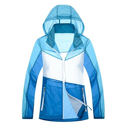CIKRILAN Femmes Imperméable Ultra-Léger Quick Dry Protection Solaire Anti-UV Outdoor Veste Manteau Dames Léger Sports Plage Sweat à Capuche (Large, Bleu)