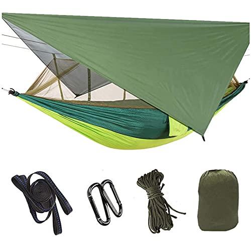 WXXMZY Hamaca, Hamaca para Acampar con Mosquitera, Hamaca Doble Individual Portátil, Fuerza De Soporte Máxima 440 Libras, Utilizada para Caminatas Y Actividades Al Aire Libre (Color : Green)