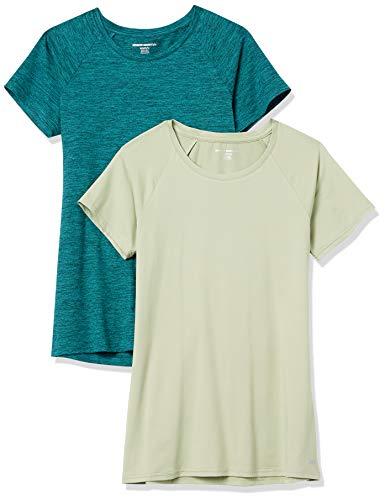 Amazon Essentials Camiseta de Manga Corta Tech Stretch Paquete de 2, Verde Azulado Efecto Lavado, Teñido Multicolor, M