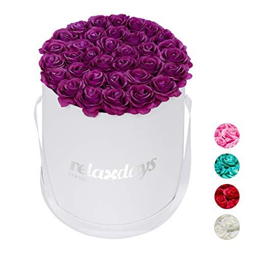 Relaxdays Rosenbox rund, 34 Rosen, stabile Flowerbox weiß, lange haltbar, Geschenkidee, dekorative Blumenbox, lila