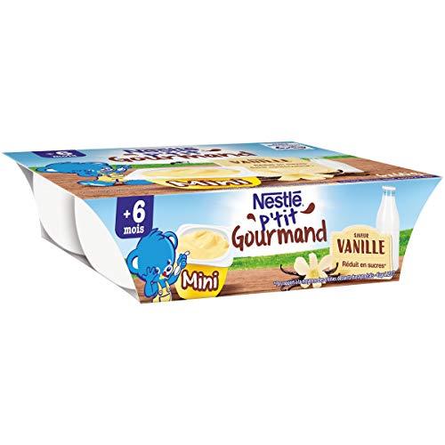 Nestlé Bébé P'tit Gourmand Mini Saveur Vanille - Laitage dès 6 mois - 6 x 60g - Pack de 8 ( 48 Laitages )