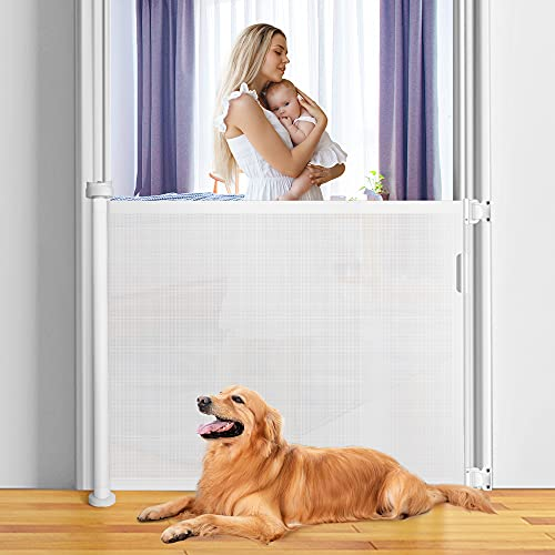 KYG Barrera Seguridad Niños Escalera, 0cm-140cm Puerta Seguridad Bebé Extensibles, de Plástico, Barrera Escalera Bebé para Uso en Interiores y Exteriores, Blanca